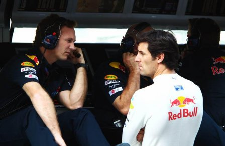 Марк Уэббер и Кристиан Хорнер на Гран При Абу-Даби 2010