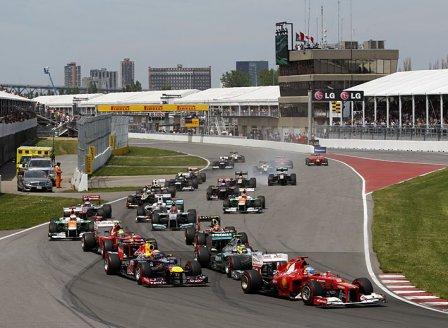 Старт гонки на Гран При Канады 2012