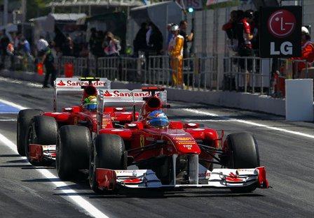 Фернандо Алонсо и Фелипе Масса, пятничная тренировка на Гран При Испании 2011