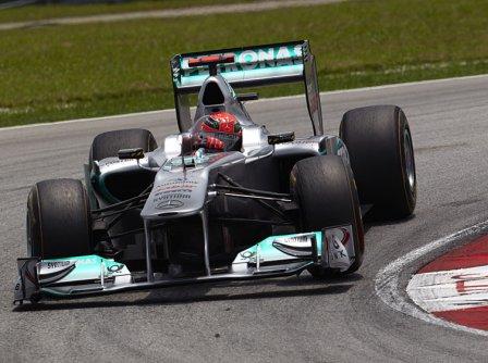 Михаэль Шумахер в квалификации на Гран При Малайзии 2011