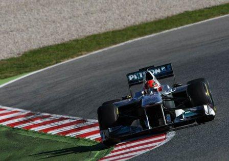 Михаэль Шумахер, первый день тестов в Барселоне 2011