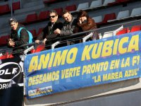 Баннер в поддержку Роберта Кубицы на тестах в Барселоне 2011