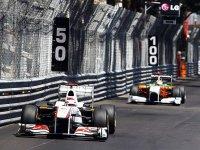 Камуи Кобаяши в гонке на Гран При Монако 2011