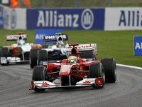 Фелипе Масса, Нико Хюлькенберг и Адриан Сутил на Гран При Бельгии 2010
