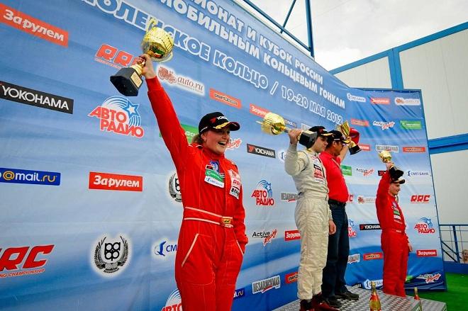 Наталья Гольцова на подиуме первого этапа RRC 2012 в Смоленске